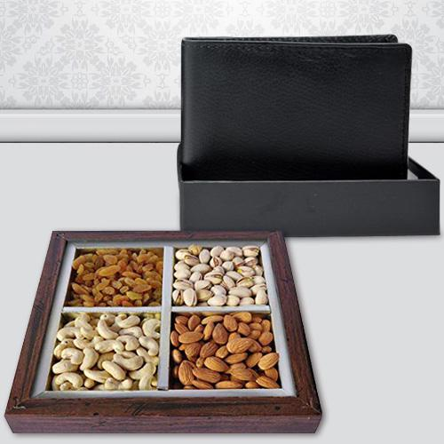 Extraordinary Gents Leather Wallet with Dry Fruits
