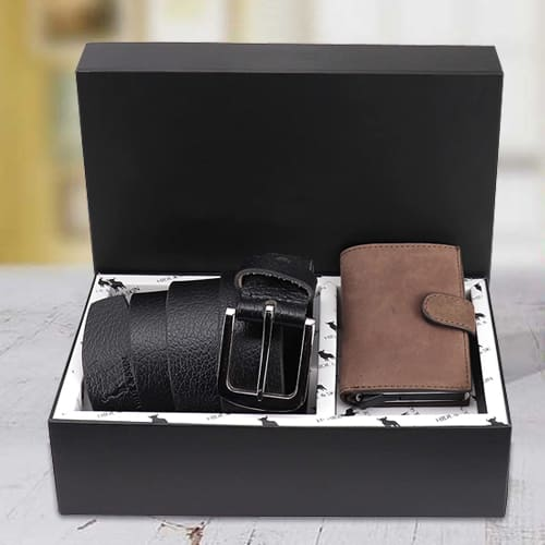 Mesmerizing Hide and Skin Mens Leather Card Holder and Formal Belt
