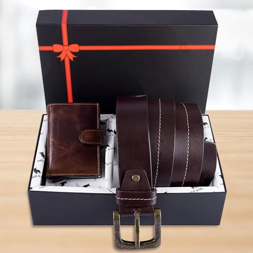 Attractive Hide and Skin Mens Leather Card Holder, Belt N KN95 Mask