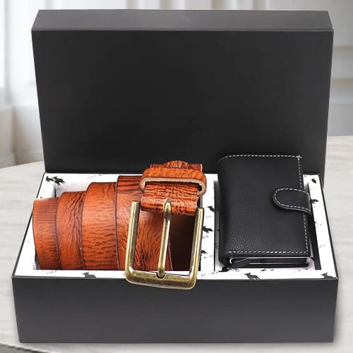 Exquisite Hide and Skin Mens Leather Card Holder and Belt<br>