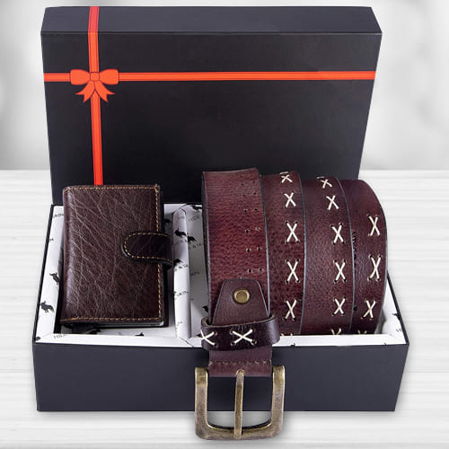 Wonderful Hide and Skin Mens Leather Card Holder, Belt N KN95 Mask