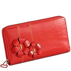 Send Flowery styled Genuine Leather ladies Wallet in Red from Leather Talks to Kerala