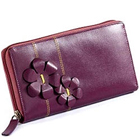 Send Flowery styled Genuine Leather ladies Wallet in Purple from Leather Talks to Kerala