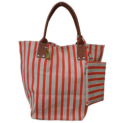 Appealing Ladies Hand Bag in Grey and Orange Stripes from Spice Art