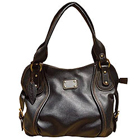 Amazing Spice Art Black Leather Ladies Handbag with Dashing Style