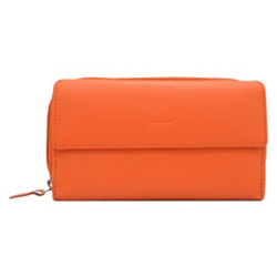 Designer Ladies Wallet with Genuine Leather in Orange from Urban Forest