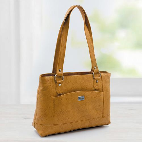 Chic Tan Color Leather Vanity Bag for Women