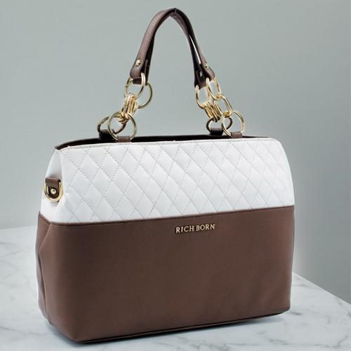 Showy Leather Handbag for Her in White N Brown