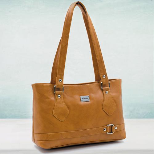 Trendy Tan Leather Handbag for Her