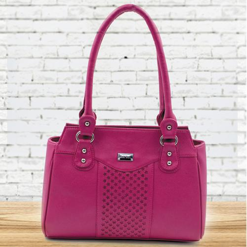 Lovely Pink Color Leather Vanity Bag for Ladies