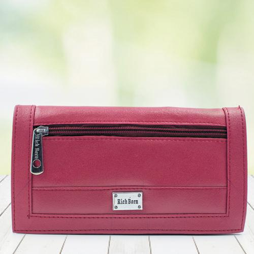 Beautiful Womens Red Color Leather Vanity Bag