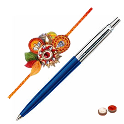 Pen from Parker with Free Designer Rakhi and Chocolate
