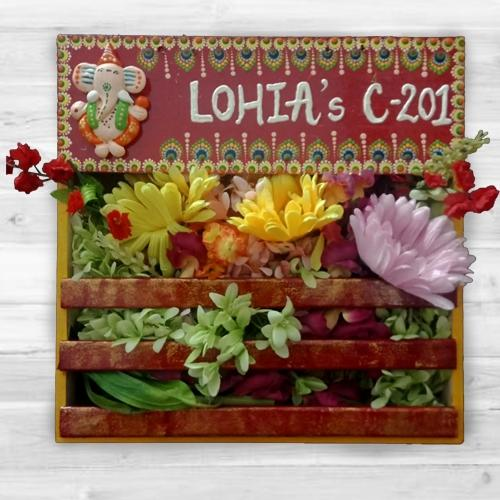 Magnificent Handmade Dot Mandala Art Ganesha Personalized Nameplate with Art Flower Decor