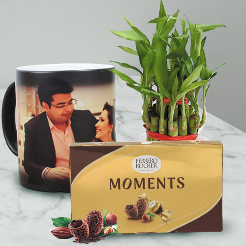 Lucky Bamboo Plant with Ferrero Rocher n Personalized Photo Magic Mug