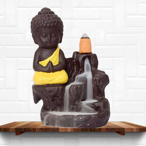 Exclusive Buddha Incense Smoke Burner Polyresin Fountain