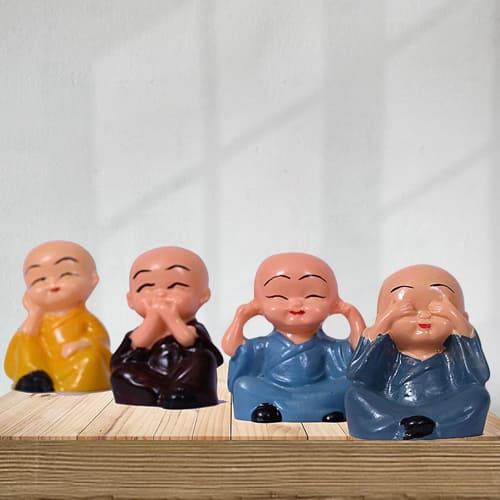 Elegant Set of 4 Laughing Buddha Polyresin Statue