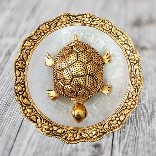 Pious Feng Shui Metal Tortoise on Plate for Maximum Age, Stability  N  Determination