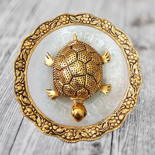 Pious Feng Shui Metal Tortoise On Plate