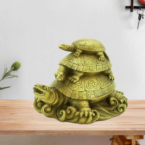 Unique Fengshui Three Tier Ceramic Tortoise