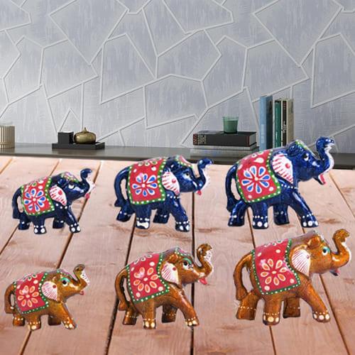 Wonderful Set of 6 Handmade Elephant Figurine