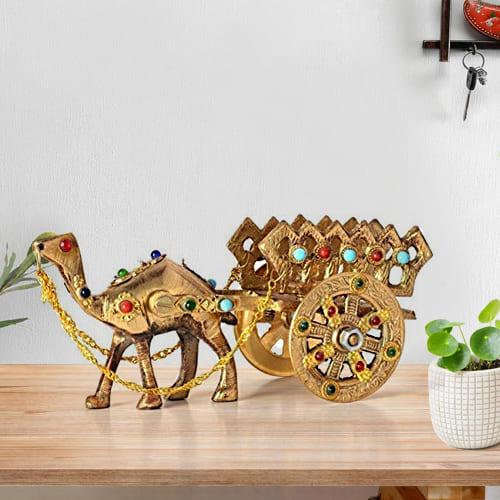Mesmerizing Rajasthani Gemstone Studded Brass Camel with Antique Work
