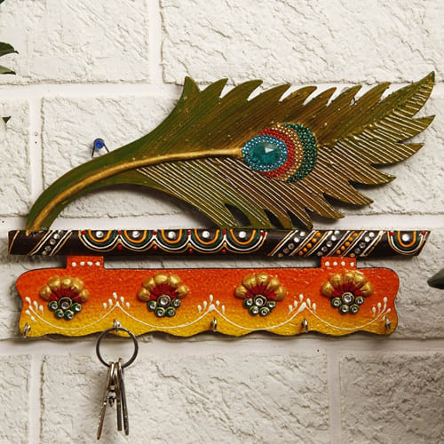 Designer Mor Pankhi Wooden Key Holder