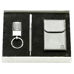 Buy Steel finish Key Ring, Pen and Visiting Card Holder