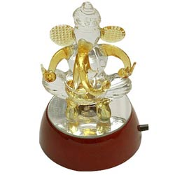 Deliver Crystal Ganesha Gift with Designer Lights