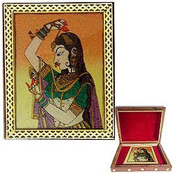Alluring Meenakari Pattern Handcrafted Wooden Jewellery Box for Mummy