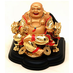 Auspicious Laughing Buddha Sitting on Dragon Chair