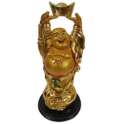 Pleasant Golden Standing Laughing Buddha Holding Ingot
