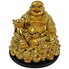Extraordinary Sitting Golden Laughing Buddha Holding Ingot on Right Hand