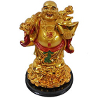 Attractive Standing Golden Laughing Budha with Unlimited Happiness