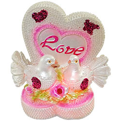 Romantic LED Lighted Love Heart with Bird Couple Showpiece