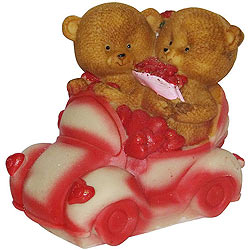 Eye Candy Couple Teddy with Hearts in a Car
