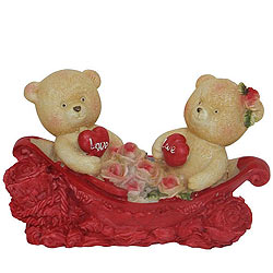 Shop for Couple Teddy with Two Hearts and Roses in a Boat
