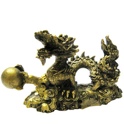 Inveterate Feng-Shui Dragon Statue Holding a Ball