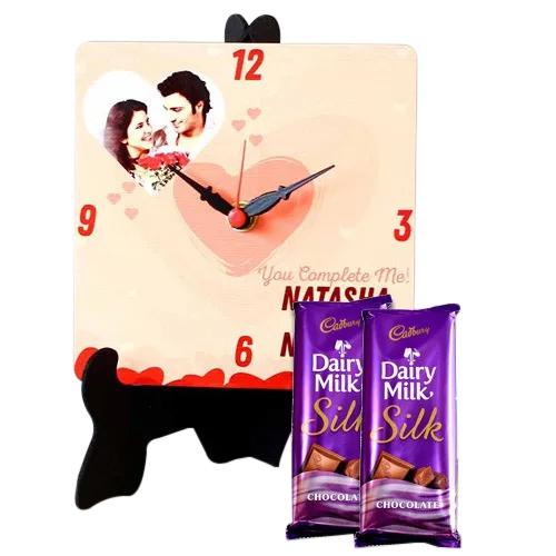 Eye Catching Personalized Photo Clock with Cadbury Dairy Milk Silk