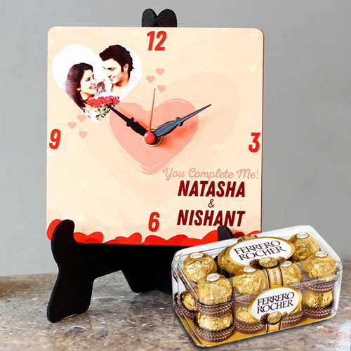 Best Personalized Photo Table Clock with Ferrero Rocher Chocolates