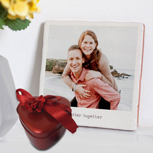 Shop for Personalized Photo Tile with Heart Shape Hand Made Chocolates