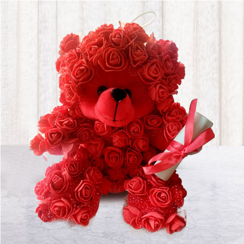 Online Rose Teddy with Personalized Message