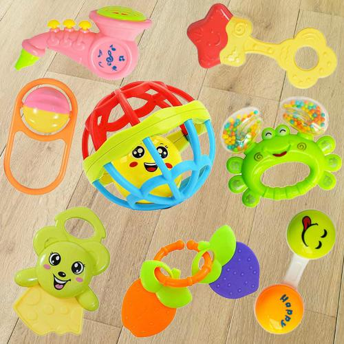 Colorful Rattles and Teethers Toys Set for Babies