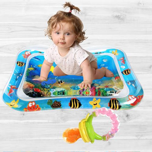 Exclusive Inflatable Water Tummy Time Playmat with Food Nibbler