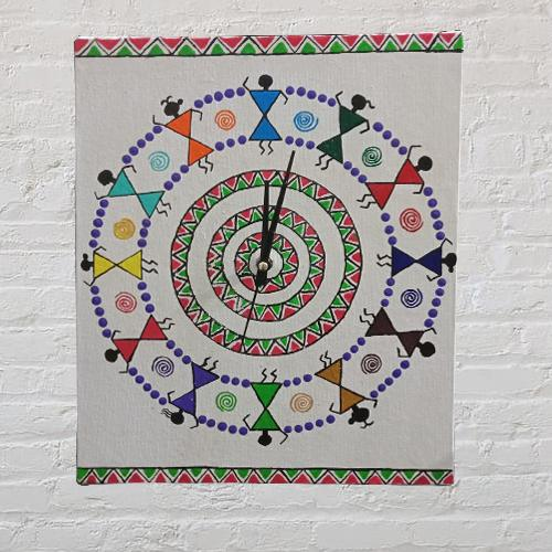 Beautiful Warli Art Wall Clock (Handmade)