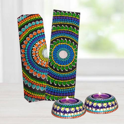 Designer Dot Mandala Art Handmade Gift Set of Diya n Bookmarkers