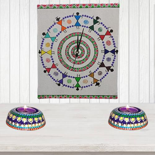 Impressive Handmade Warli Art Wall Clock with Twin Dot Mandala Art Diya