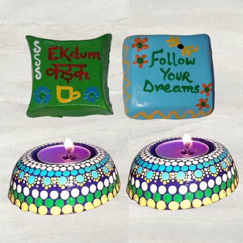 Magnificent Dot Mandala Art Diya with Handmade Fridge Magnet Set