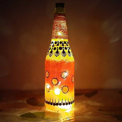Attractive Dot Mandala Art Bottle Lamp