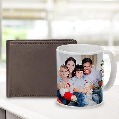 Special Personalized Photo Coffee Mug with Rich Borns Brown Leather Wallet for Men