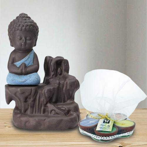 Pious Meditating Monk Buddha N Incense Holder with Iris Aroma Candles